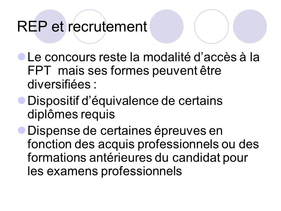 REP et recrutementLe concours reste la modalité d'accès à la FPT mais ses formes peuvent être diversifiées :