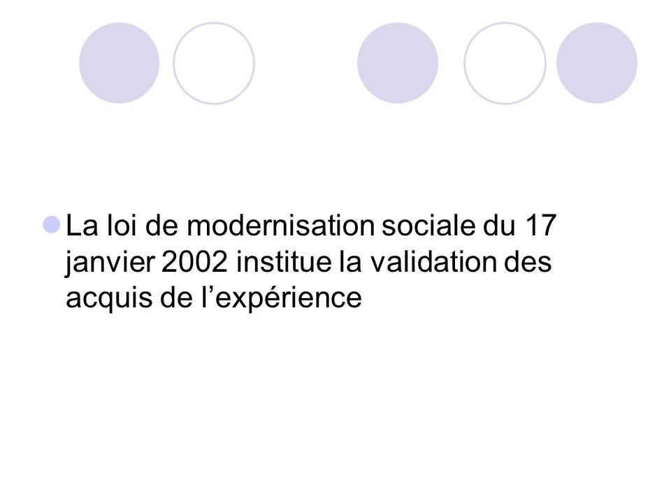 La loi de modernisation sociale du 17 janvier 2002 institue la validation des acquis de l'expérience
