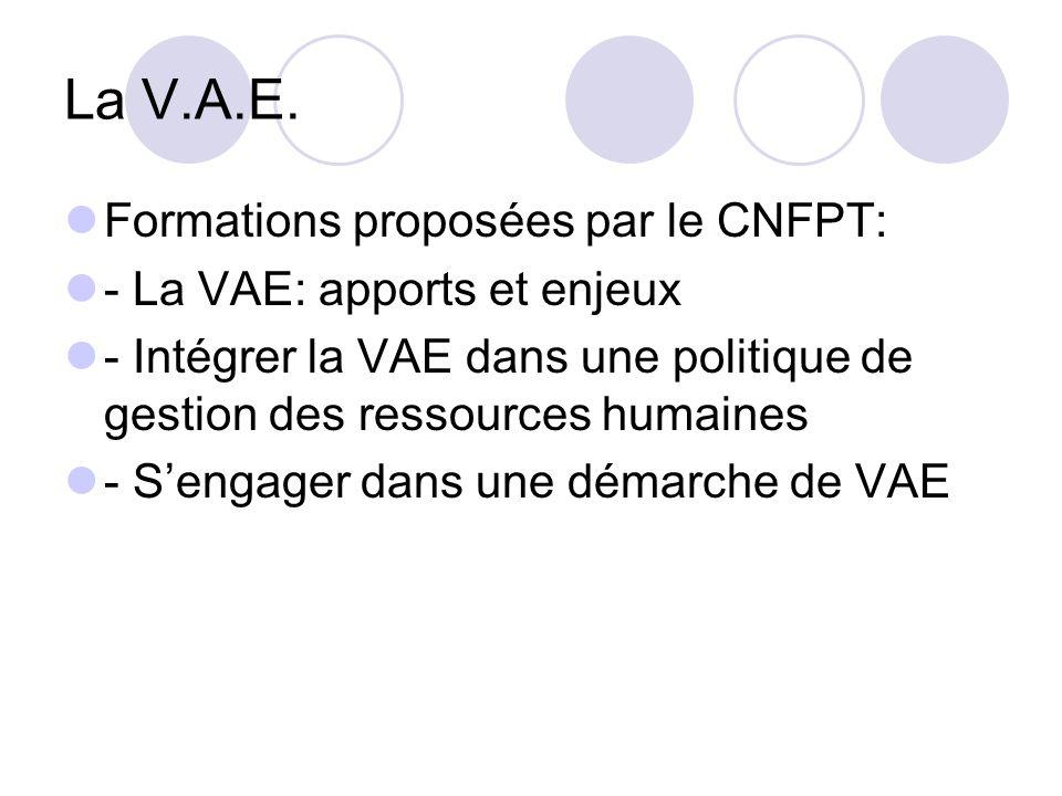 La V.A.E. Formations proposées par le CNFPT: