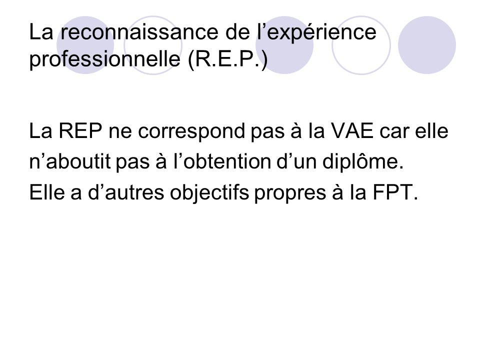 La reconnaissance de l'expérience professionnelle (R.E.P.)