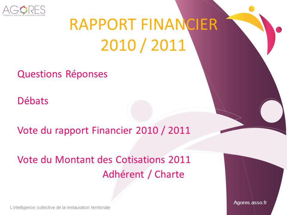 RAPPORT FINANCIER 2010 / 2011 Questions Réponses Débats