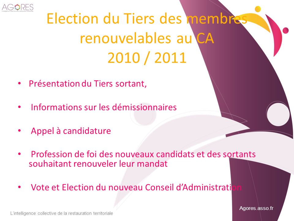 Election du Tiers des membres renouvelables au CA 2010 / 2011