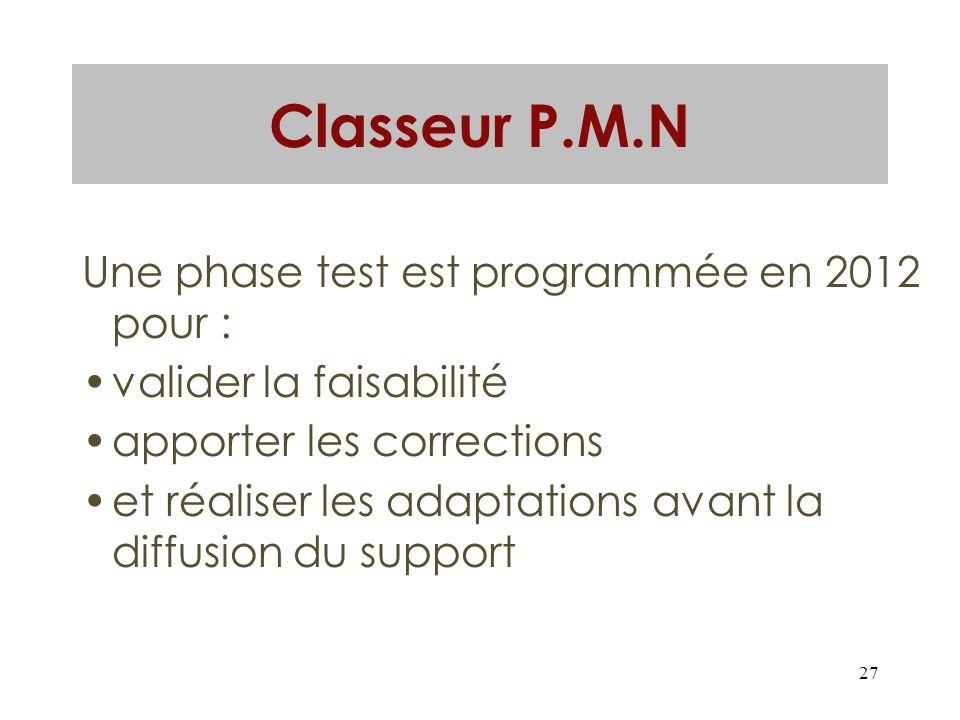 Classeur P.M.N Une phase test est programmée en 2012 pour :