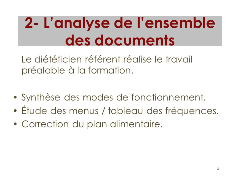 2- L'analyse de l'ensemble des documents