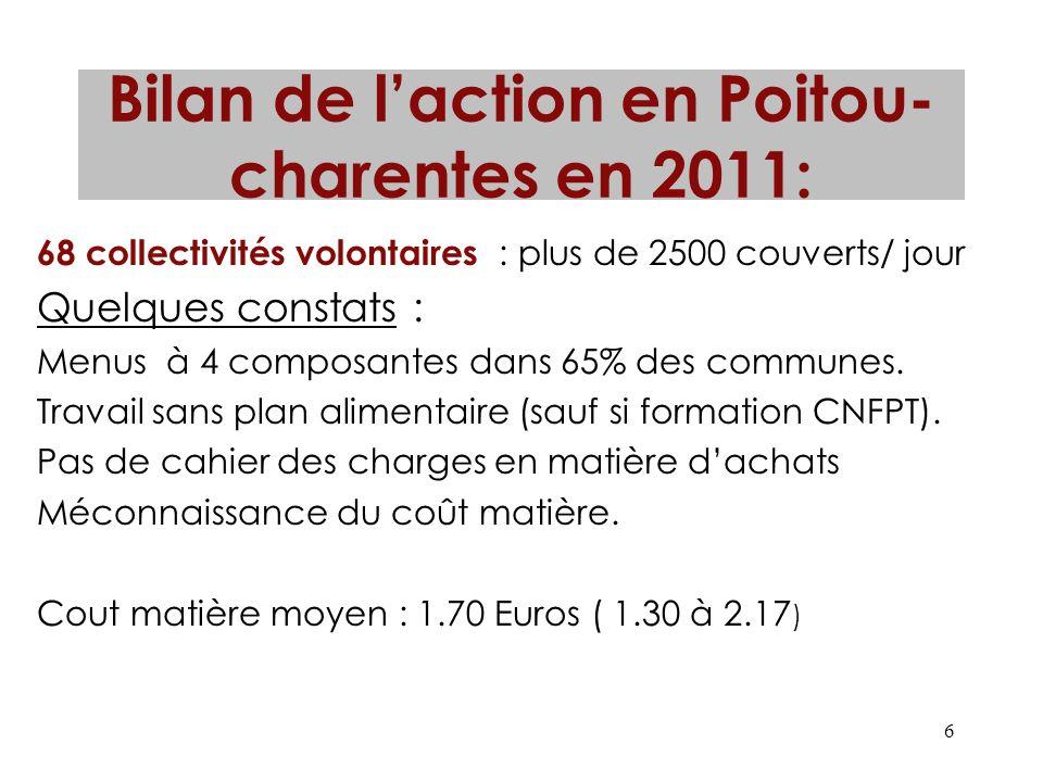 Bilan de l'action en Poitou-charentes en 2011: