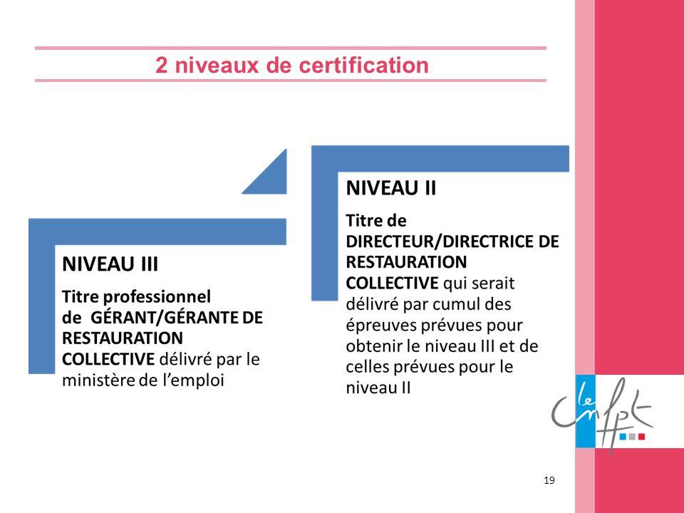 2 niveaux de certification