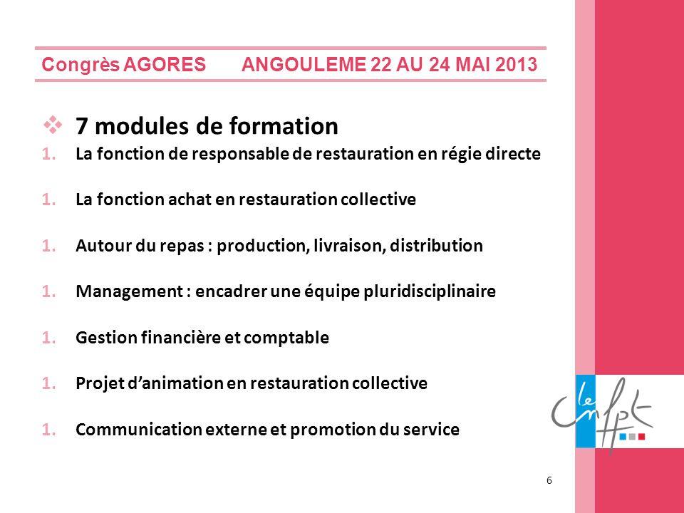 7 modules de formation Congrès AGORES ANGOULEME 22 AU 24 MAI 2013