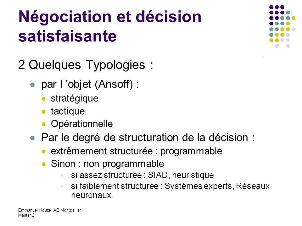 Négociation et décision satisfaisante