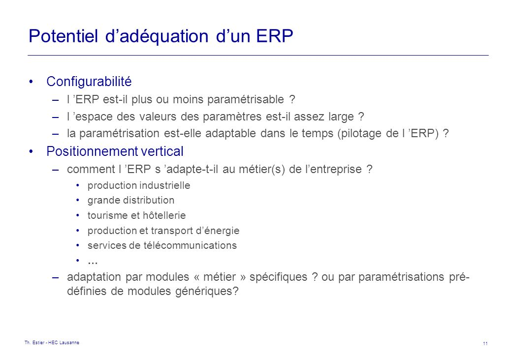 Potentiel d'adéquation d'un ERP