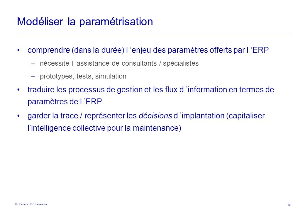 Modéliser la paramétrisation