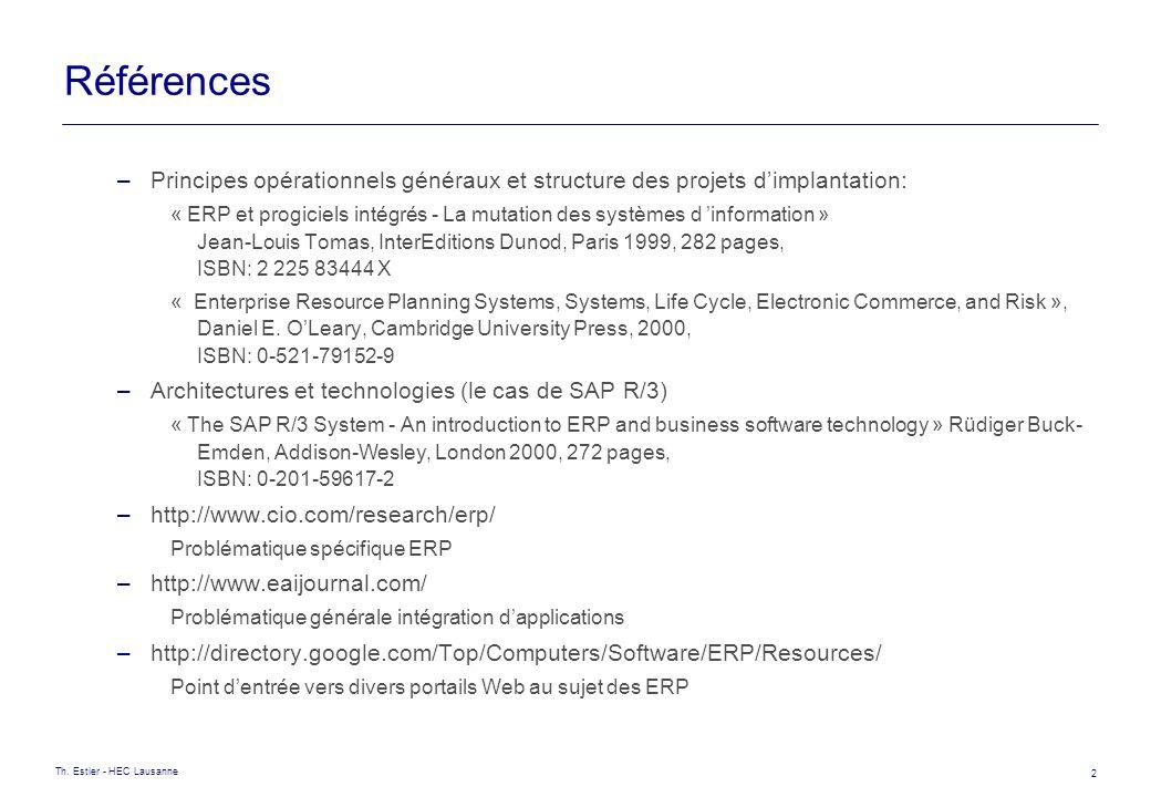 Références Principes opérationnels généraux et structure des projets d'implantation: