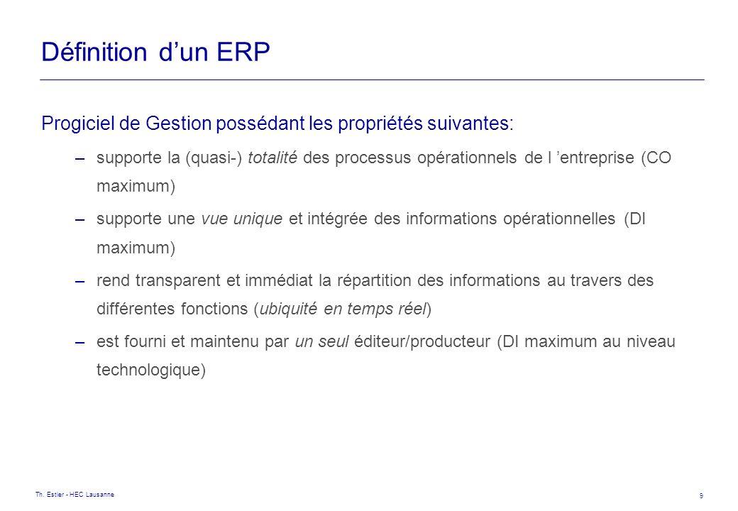 Définition d'un ERP Progiciel de Gestion possédant les propriétés suivantes: