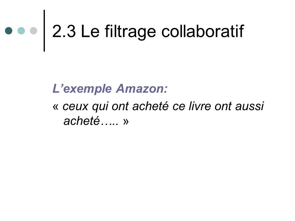 2.3 Le filtrage collaboratif