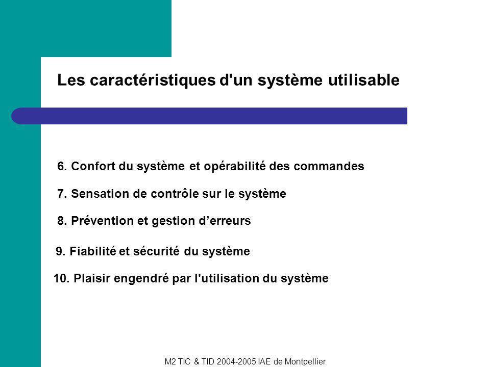 Les caractéristiques d un système utilisable