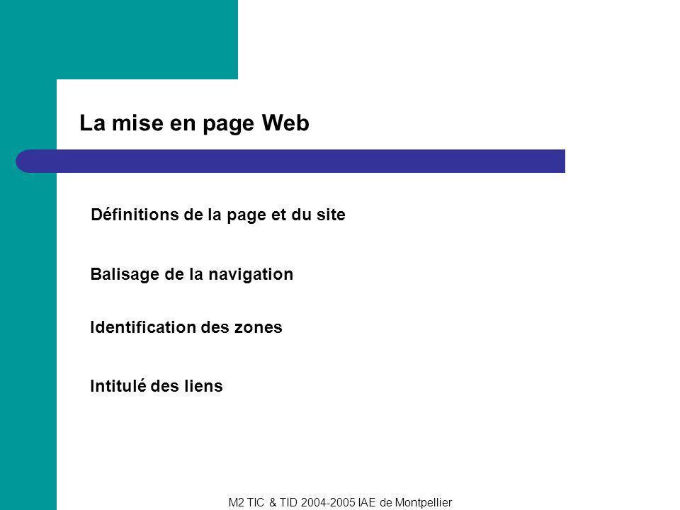La mise en page Web Définitions de la page et du site