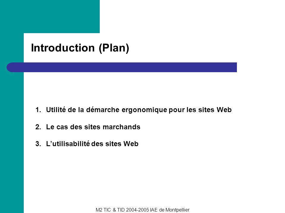 Introduction (Plan) Utilité de la démarche ergonomique pour les sites Web. Le cas des sites marchands.