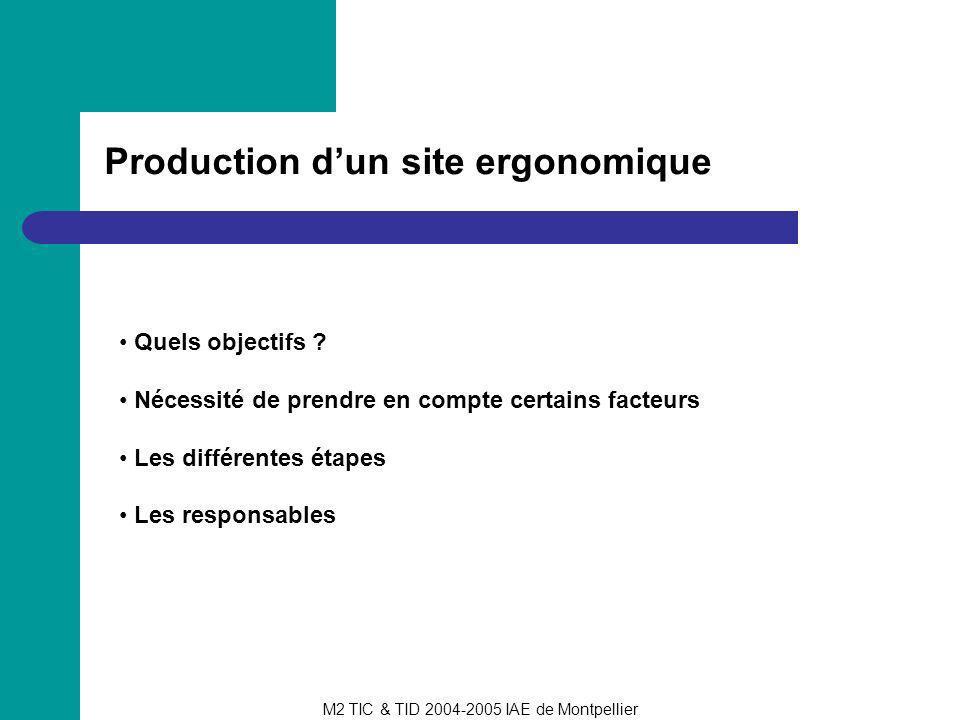 Production d'un site ergonomique
