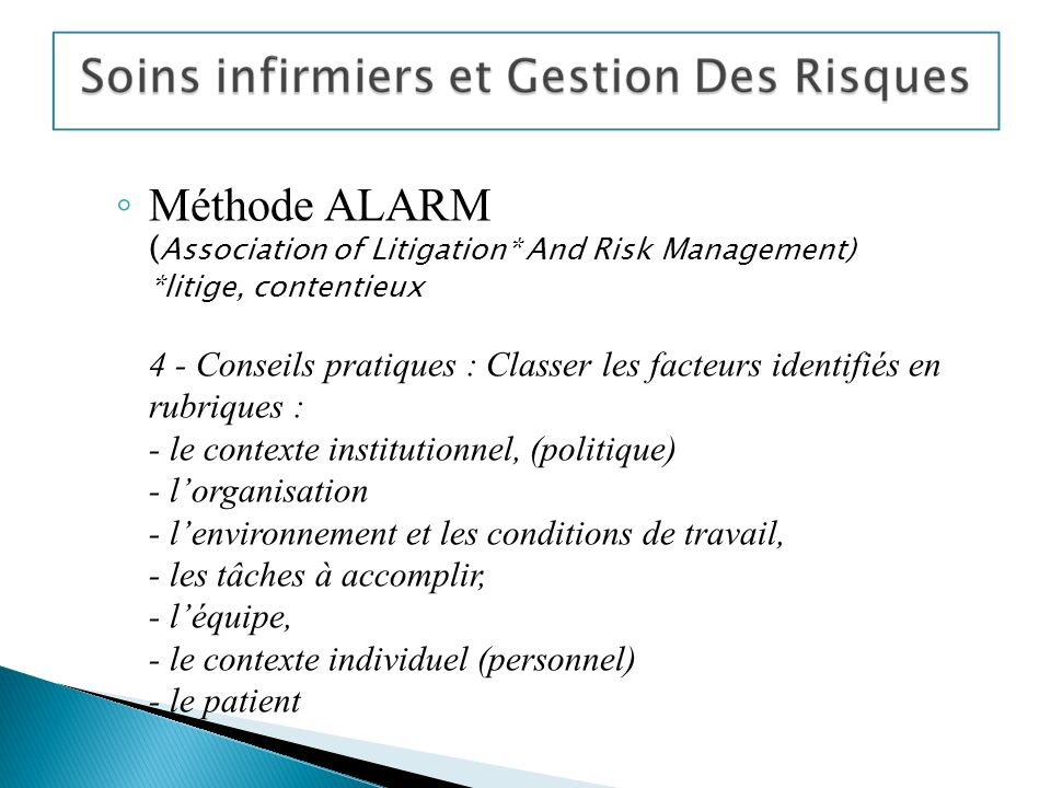 Méthode ALARM (Association of Litigation. And Risk Management)