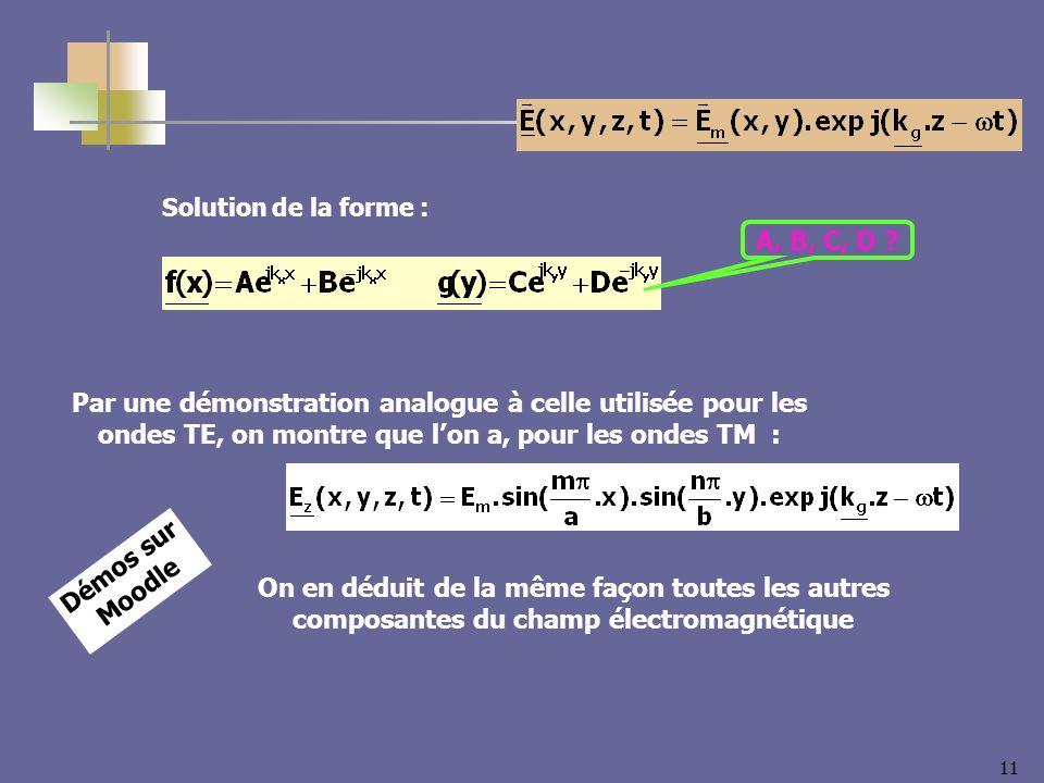 Solution de la forme : A, B, C, D Par une démonstration analogue à celle utilisée pour les ondes TE, on montre que l'on a, pour les ondes TM :