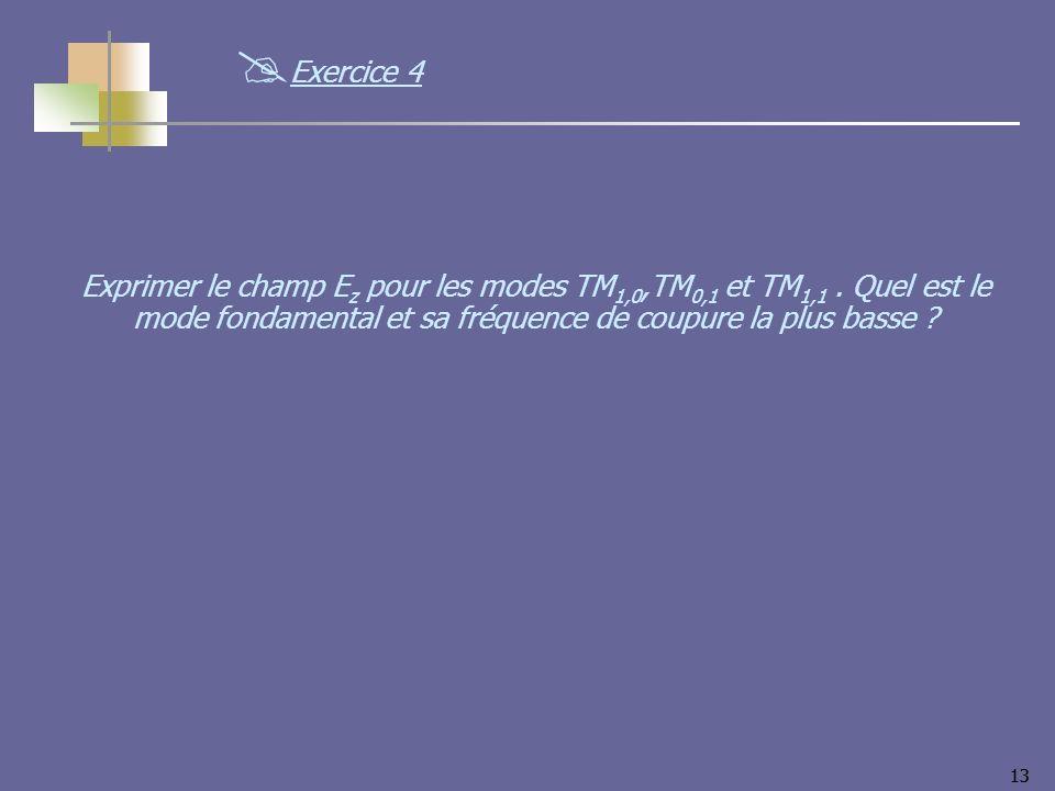 Exercice 4 Exprimer le champ Ez pour les modes TM1,0,TM0,1 et TM1,1 .