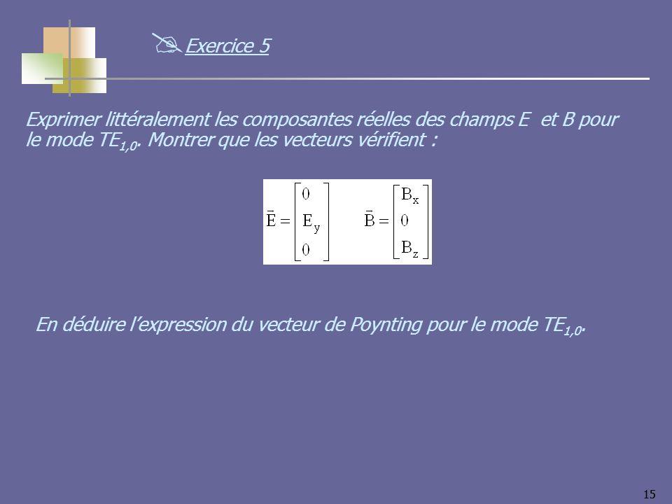 Exercice 5 Exprimer littéralement les composantes réelles des champs E et B pour le mode TE1,0. Montrer que les vecteurs vérifient :