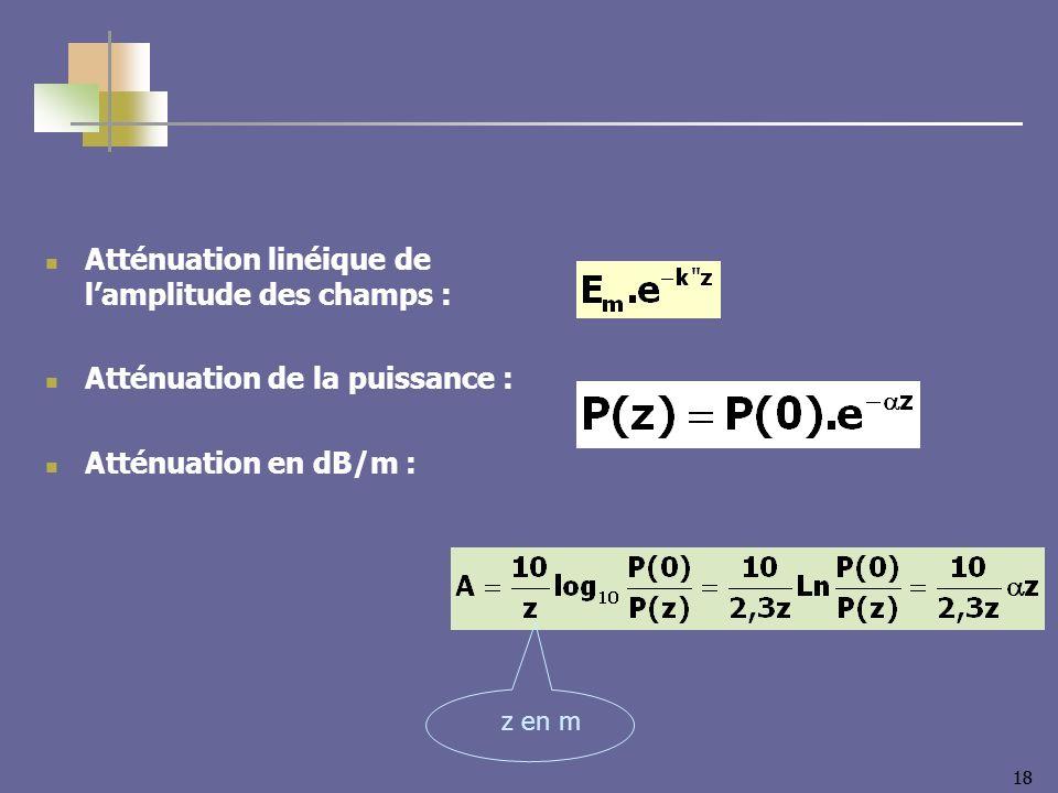 Atténuation linéique de l'amplitude des champs :