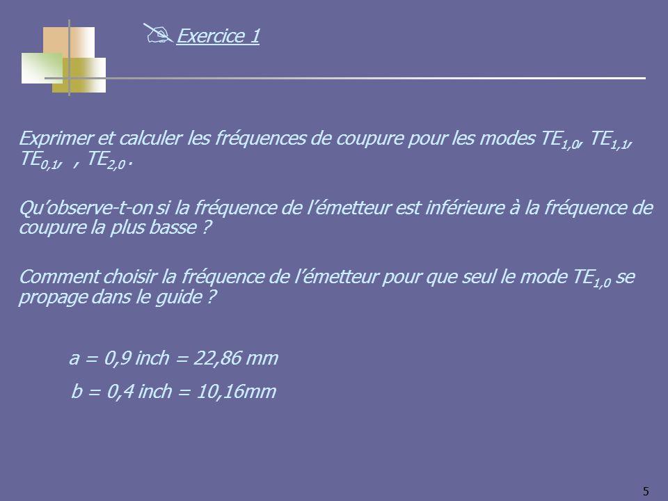 Exercice 1 Exprimer et calculer les fréquences de coupure pour les modes TE1,0, TE1,1, TE0,1, , TE2,0 .