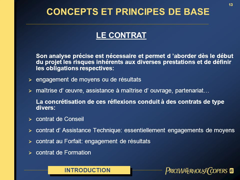 CONCEPTS ET PRINCIPES DE BASE