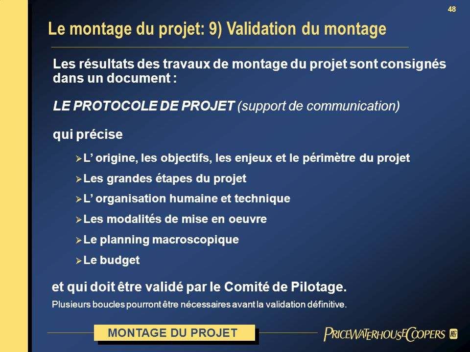 Le montage du projet: 9) Validation du montage