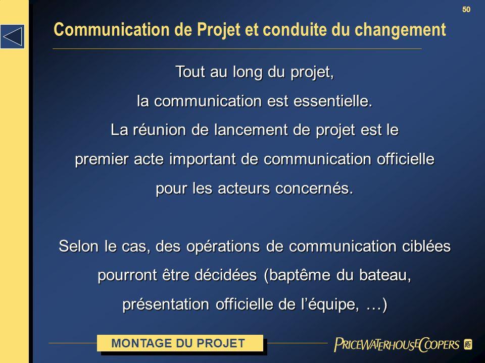 Communication de Projet et conduite du changement