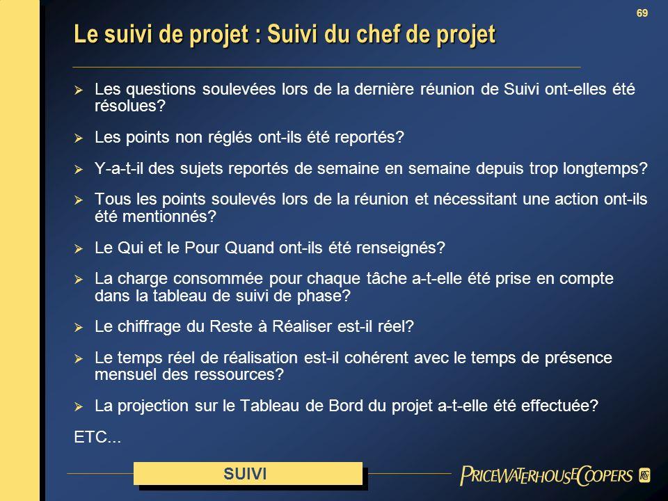 Le suivi de projet : Suivi du chef de projet