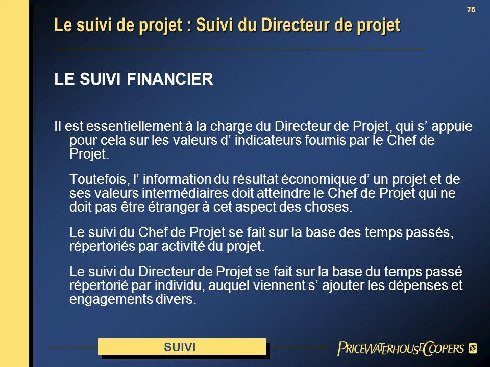 Le suivi de projet : Suivi du Directeur de projet