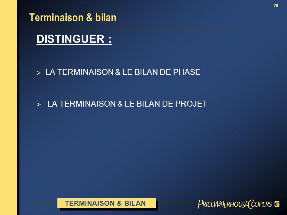 Terminaison & bilan DISTINGUER : LA TERMINAISON & LE BILAN DE PHASE