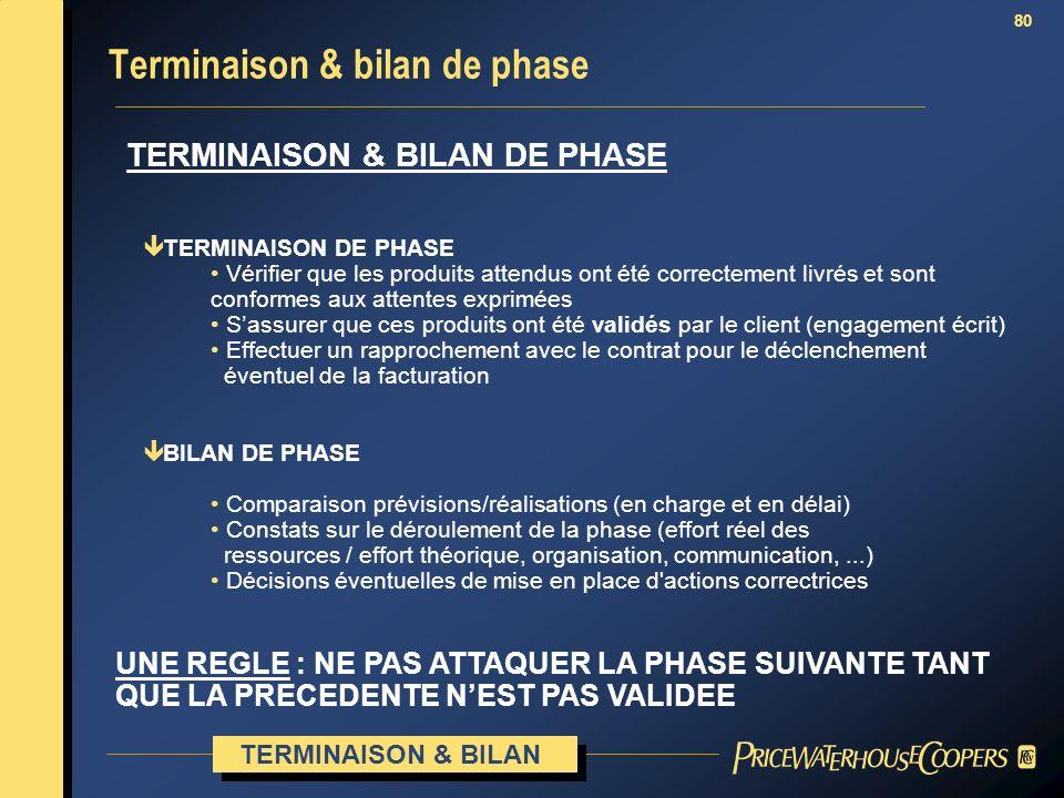 Terminaison & bilan de phase