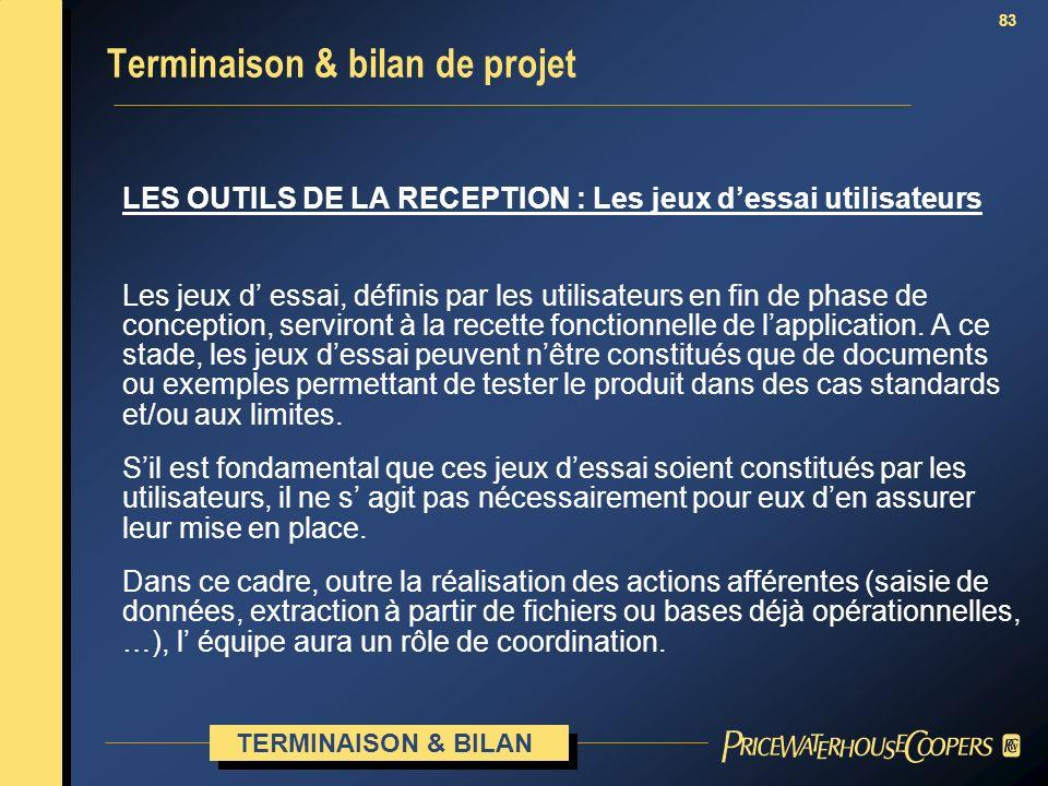 Terminaison & bilan de projet