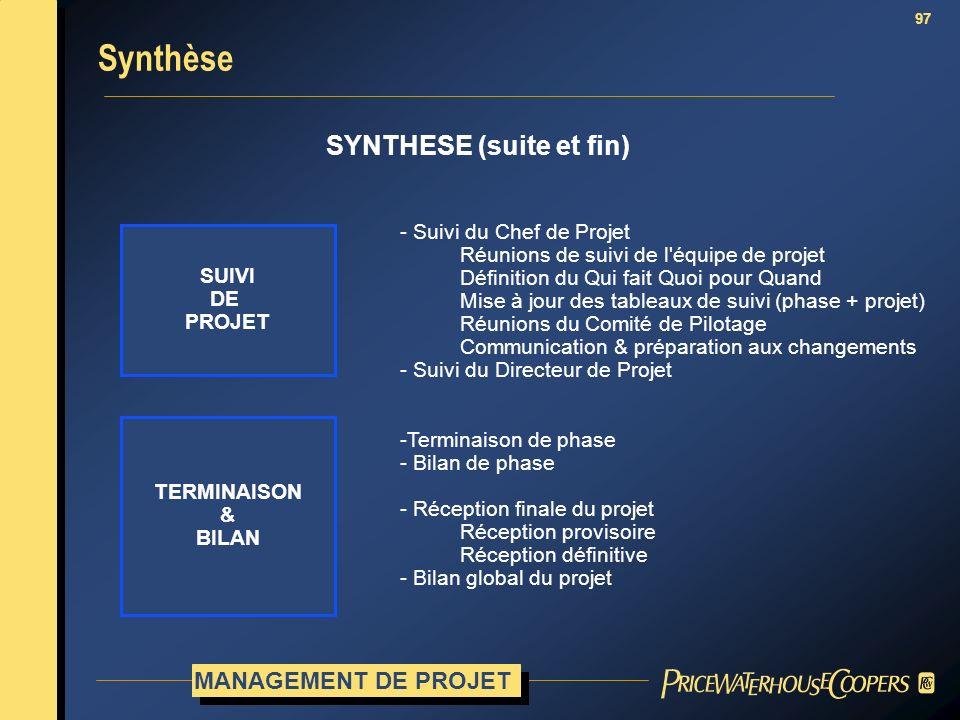Synthèse SYNTHESE (suite et fin) MANAGEMENT DE PROJET SUIVI DE PROJET