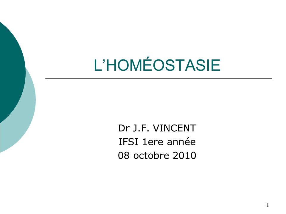 Dr J.F. VINCENT IFSI 1ere année 08 octobre 2010