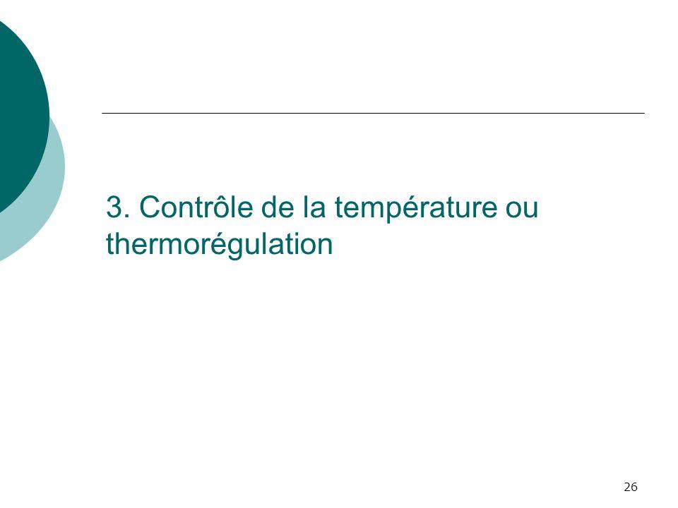 3. Contrôle de la température ou thermorégulation