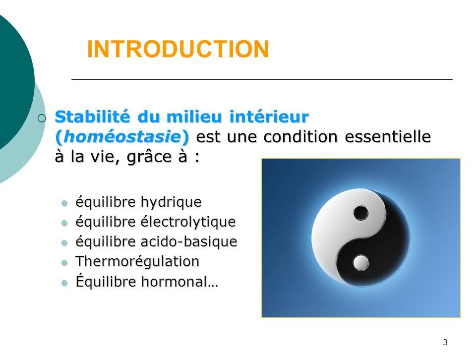 INTRODUCTION Stabilité du milieu intérieur (homéostasie) est une condition essentielle à la vie, grâce à :