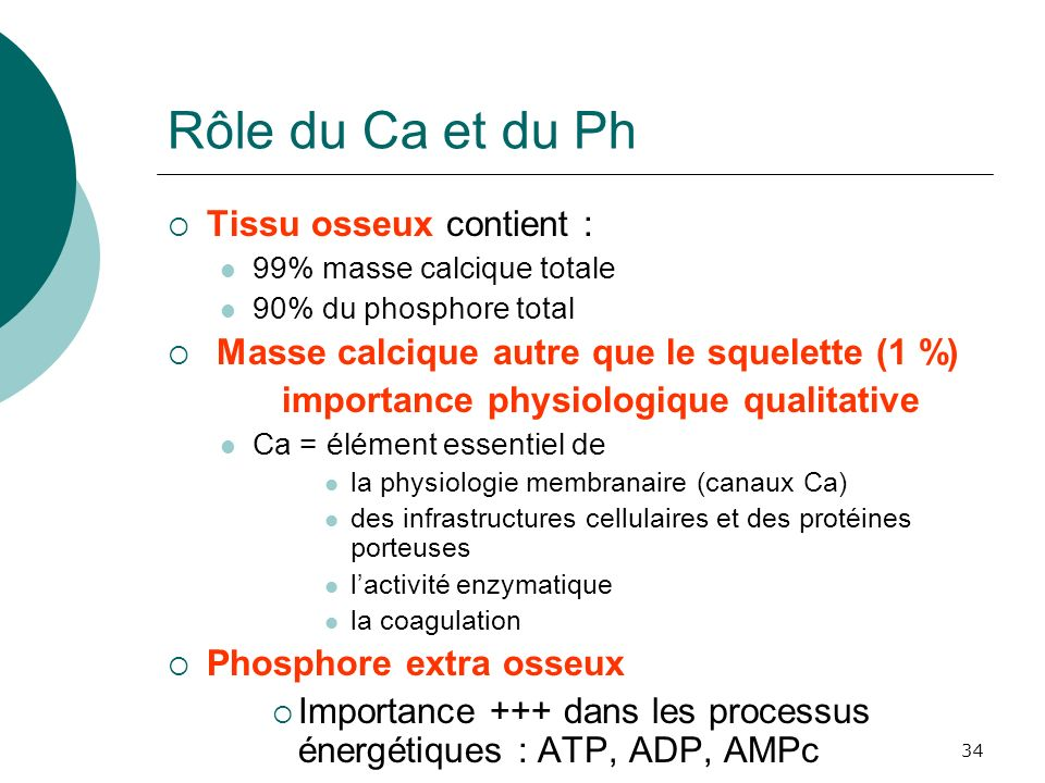 Rôle du Ca et du Ph Tissu osseux contient :