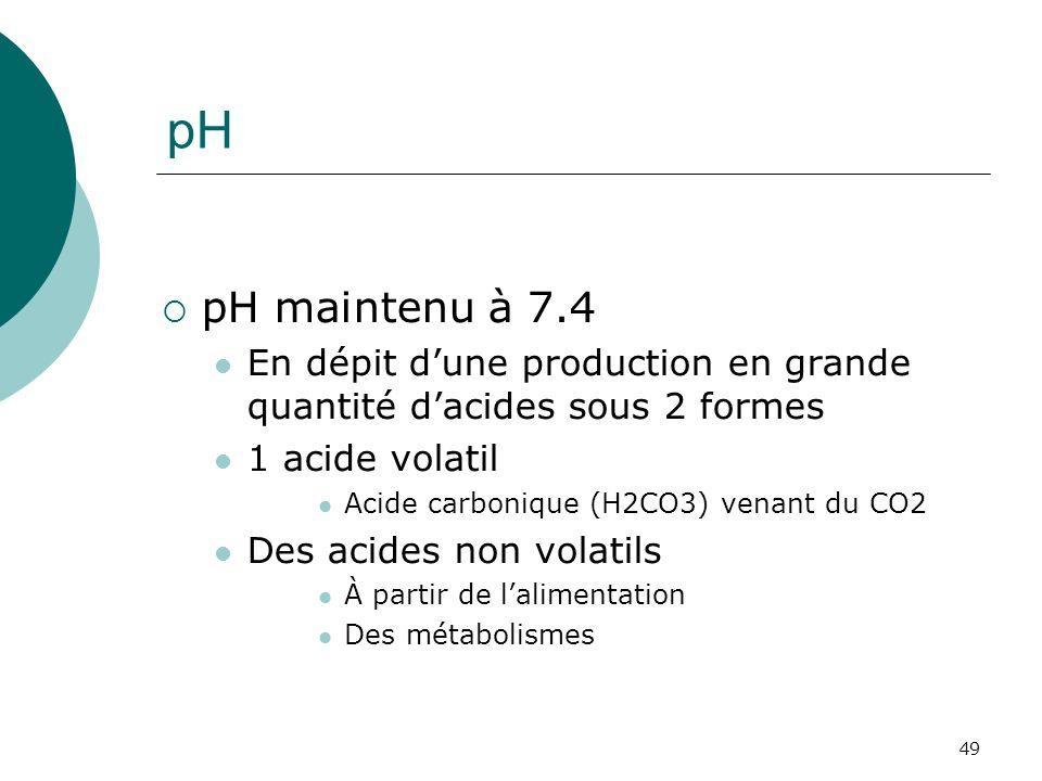 pH pH maintenu à 7.4. En dépit d'une production en grande quantité d'acides sous 2 formes. 1 acide volatil.