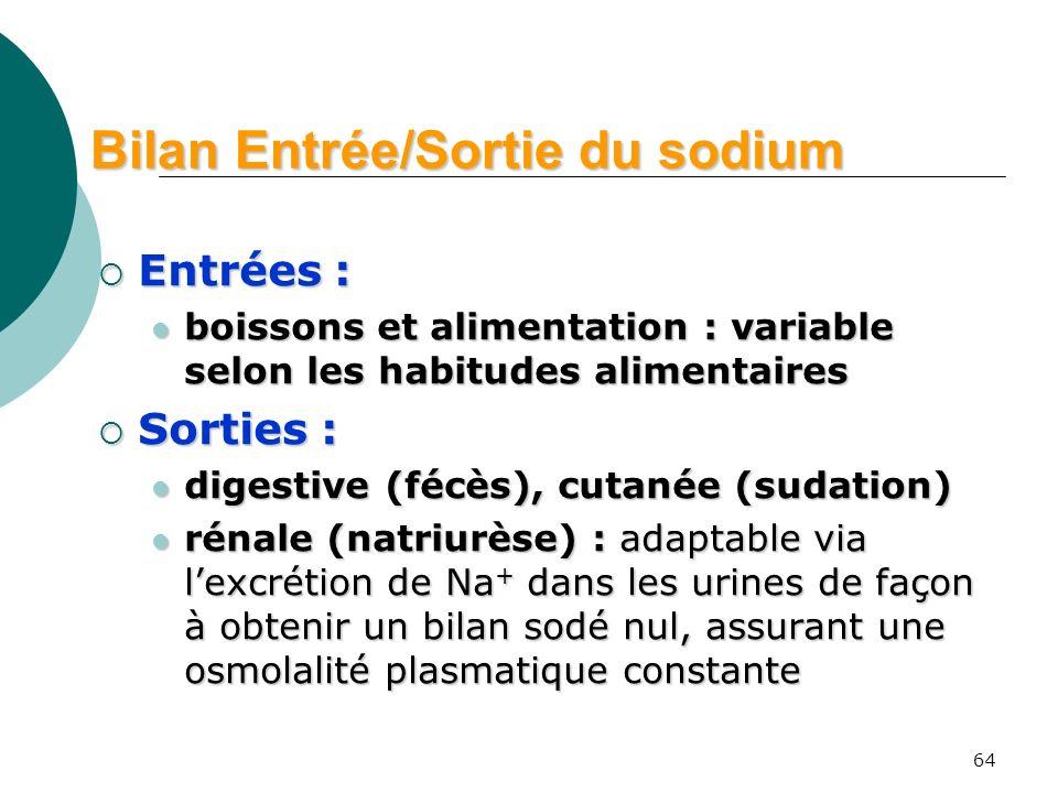 Bilan Entrée/Sortie du sodium
