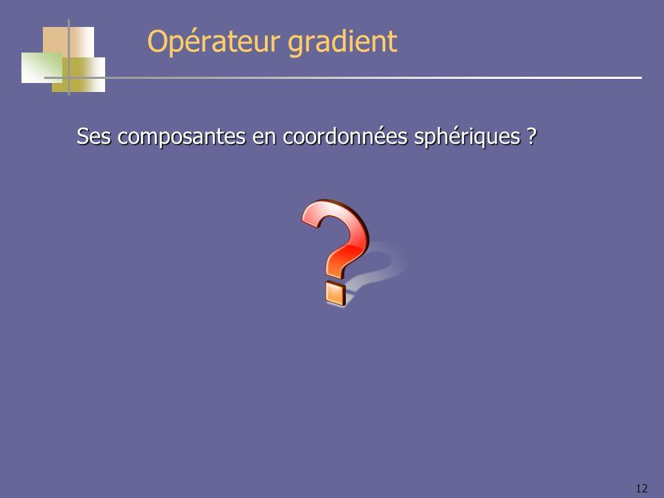 Opérateur gradient Ses composantes en coordonnées sphériques