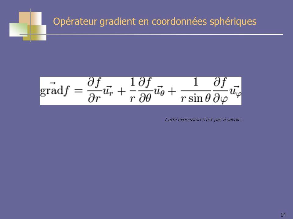 Opérateur gradient en coordonnées sphériques