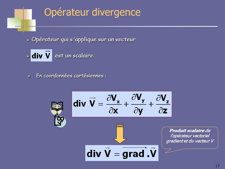 Produit scalaire de l'opérateur vectoriel gradient et du vecteur V