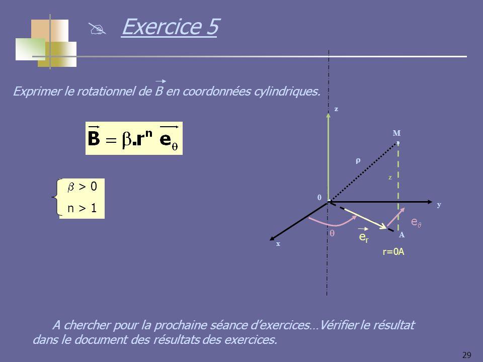 Exercice 5 Exprimer le rotationnel de B en coordonnées cylindriques.