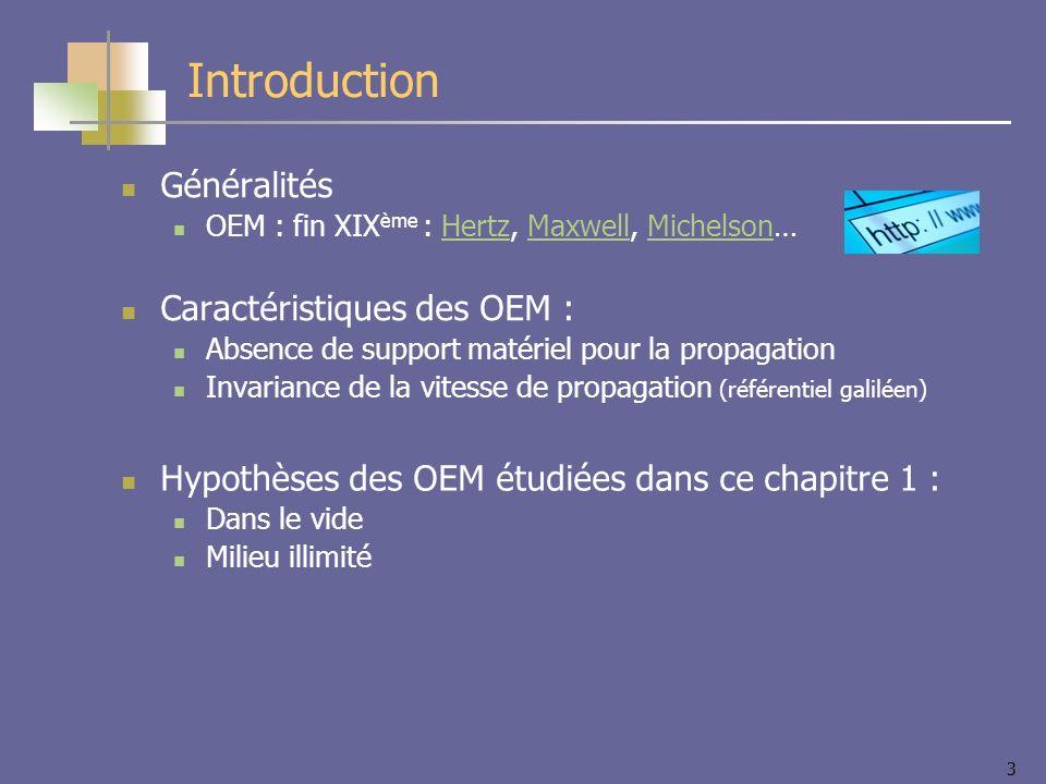 Introduction Généralités Caractéristiques des OEM :