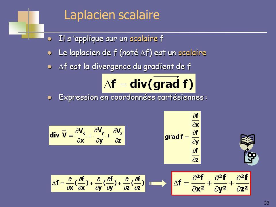 Laplacien scalaire Il s 'applique sur un scalaire f