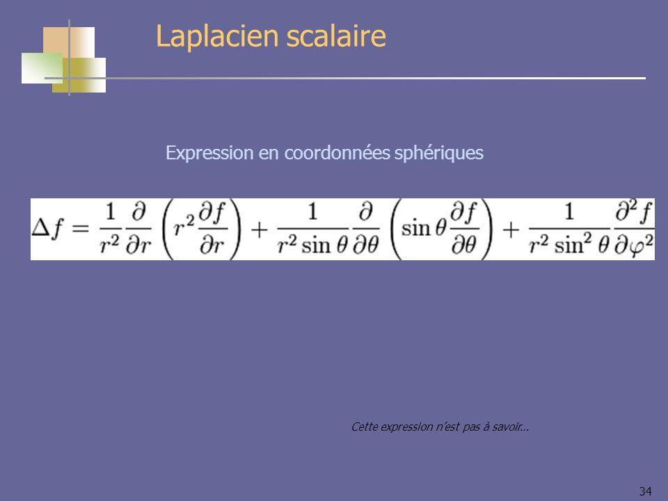 Laplacien scalaire Expression en coordonnées sphériques