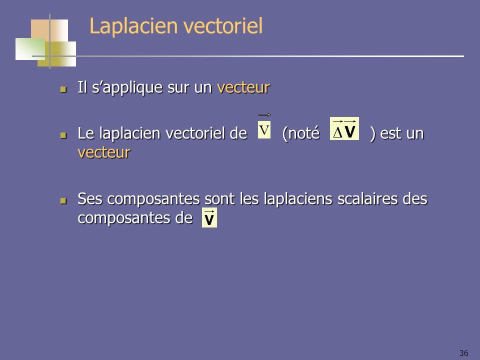 Laplacien vectoriel Il s'applique sur un vecteur